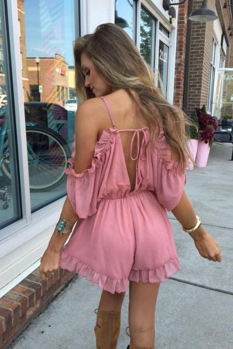 Stylish Cold Shoulder V-Neck Romper Spaghetti Strap Shaped Jumpsuit