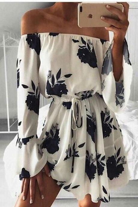 Print Sexy Backless One Piece Dress