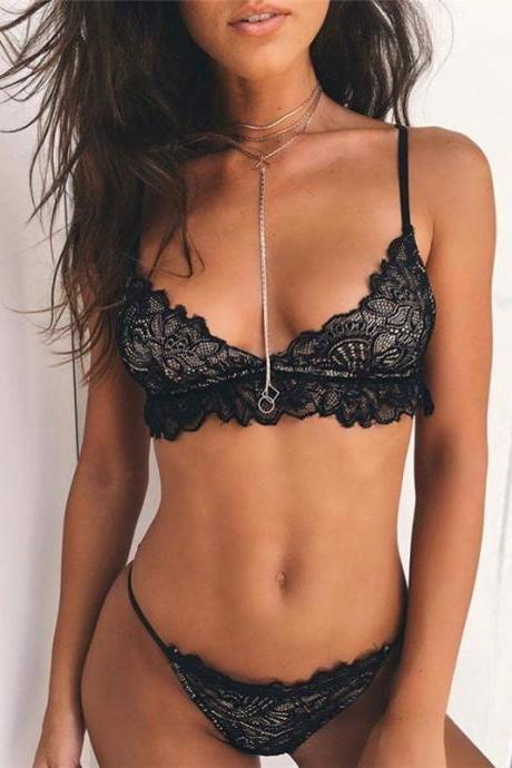 Sexy On Sale Cute Hot Deal Lace Spaghetti Strap Set Exotic Lingerie