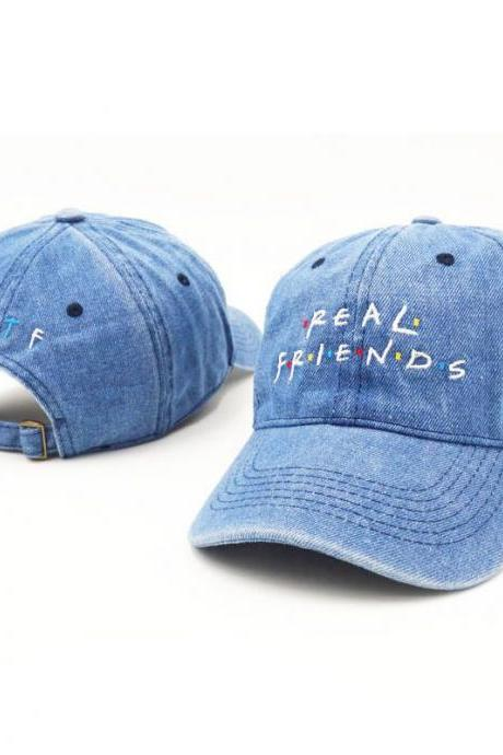 Unisex Cool Real Friends Sports Embroidered Baseball Cap Hats