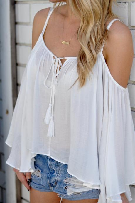 New V collar tie blouse loose halter sun-tops