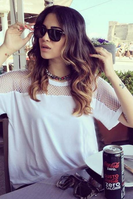 Hot hollow blouse stitching loose all-match short sleeved T-shirt