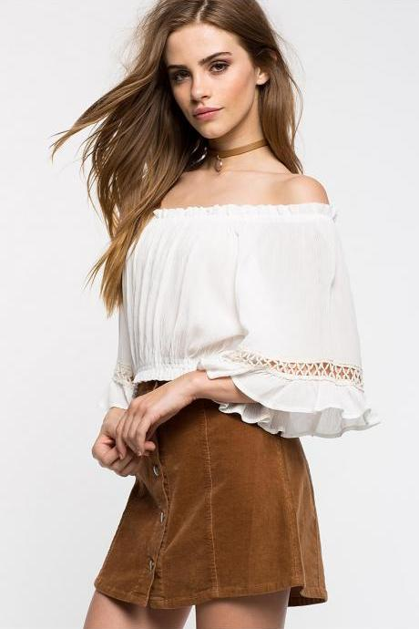 Sexy One Word Shoulder Chiffon Blouse