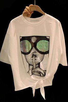 2017 new summer T-shirt large glasses beads loose all-match casual T-shirt tide
