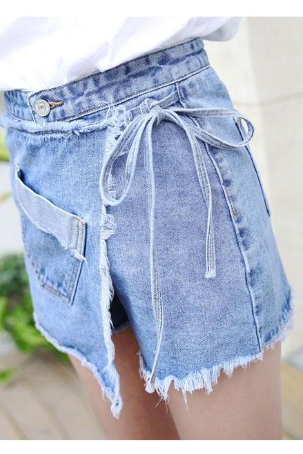 Personality slim false two Wide Leg Denim Shorts irregular skirt