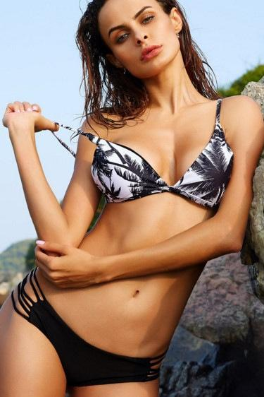 New printing bikini thin fashion coconut tree swimsuit