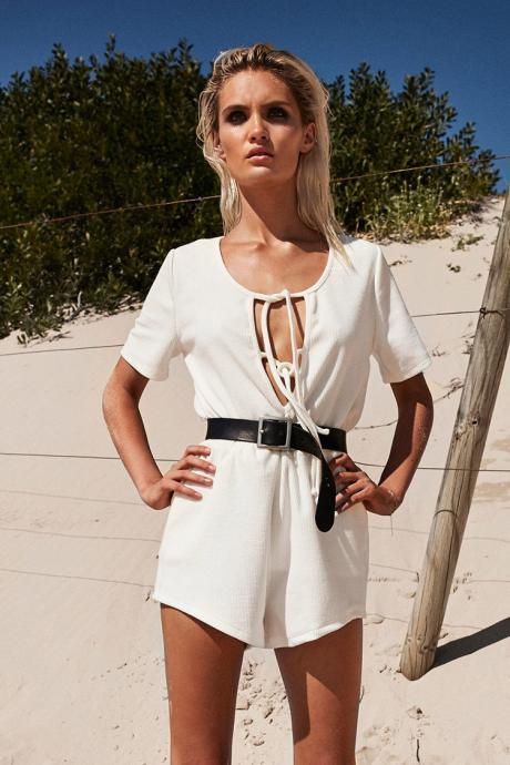 White Ribbed Lace-Up Plunge V Romper