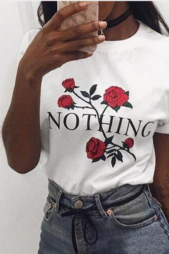 Street dress INS net red rose nothing word T shirt