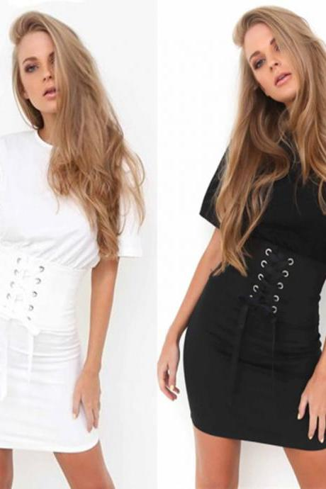 Corset Short Dress Featuring Crew Neck in Black or White