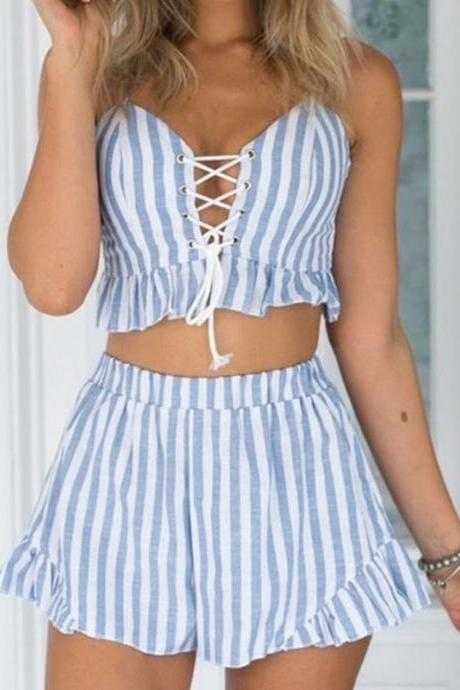 New Sexy Light Blue Two Piece Set With Bandage Top and Sexy Short
