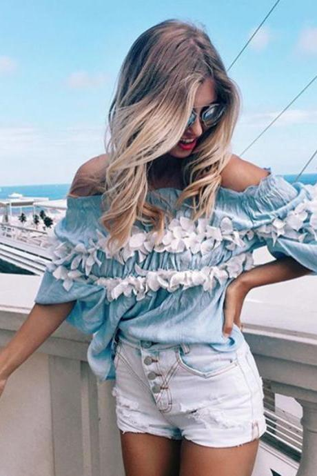 Hot Off the shoulder Blue & Flower Short Top Sexy Blouse