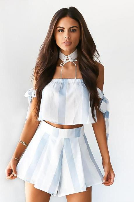 Off the Shoulder Top& Wide Stripe Shorts Sexy Fashion Two Piece Set Clothing